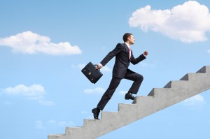 Climbing stairs to success image